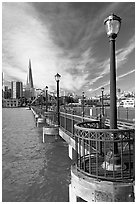 Pier 7 and city skyline. San Francisco, California, USA ( black and white)