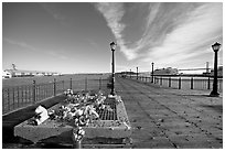 Makeshift memorial on pier seven. San Francisco, California, USA (black and white)