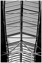 Glass roof of the Ferry building. San Francisco, California, USA (black and white)