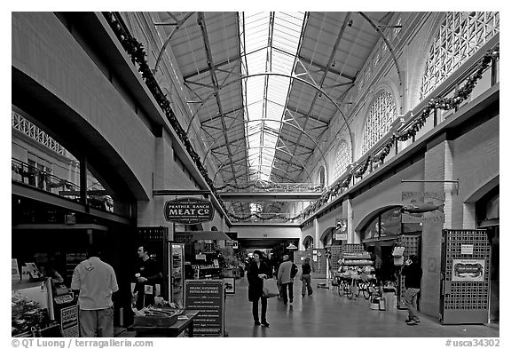 Marketplace in the Ferry building. San Francisco, California, USA (black and white)