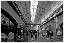 Marketplace in the Ferry building. San Francisco, California, USA ( black and white)
