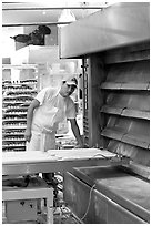 Baker loading loafs of bread into oven. San Francisco, California, USA (black and white)
