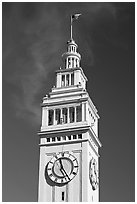 Clock tower of the Ferry building, 204 foot tall. San Francisco, California, USA ( black and white)