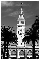 Clock tower of the Ferry building, modeled after the  Seville Cathedral. San Francisco, California, USA (black and white)