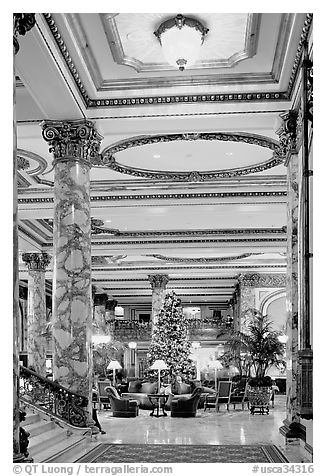 Opulent lobby of the Fairmont Hotel. San Francisco, California, USA (black and white)