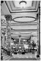 Opulent lobby of the Fairmont Hotel. San Francisco, California, USA ( black and white)