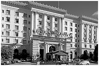 Facade of the Fairmont Hotel, early afternoon. San Francisco, California, USA (black and white)