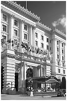 Fairmont Hotel and flags, early afternoon. San Francisco, California, USA ( black and white)