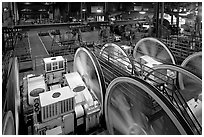 Cable Car powerhouse with cable winding machines. San Francisco, California, USA (black and white)