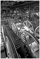 Cable winding machinery in the Cable-car powerhouse. San Francisco, California, USA (black and white)