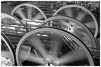 Detail of winding machine. San Francisco, California, USA (black and white)