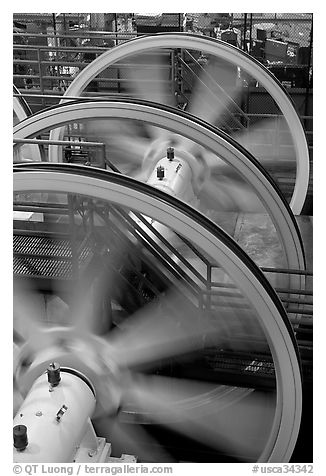 Wheels of cable winding machine. San Francisco, California, USA (black and white)