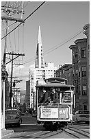 Cable car and Transamerica Pyramid. San Francisco, California, USA (black and white)