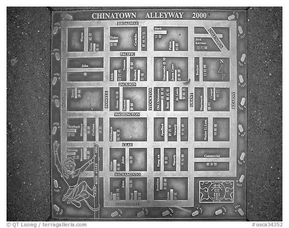 Alleyway map of Chinatown. San Francisco, California, USA (black and white)