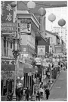Grant Street, the most commercial street of Chinatown. San Francisco, California, USA (black and white)
