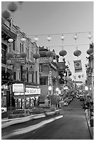 Grant Street at dusk,  Chinatown. San Francisco, California, USA (black and white)
