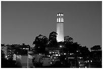 Coit Tower and Telegraph Hill at night. San Francisco, California, USA ( black and white)