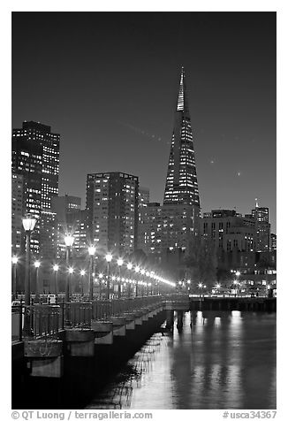 Transamerica Pyramid and Pier seven reflections at night. San Francisco, California, USA (black and white)