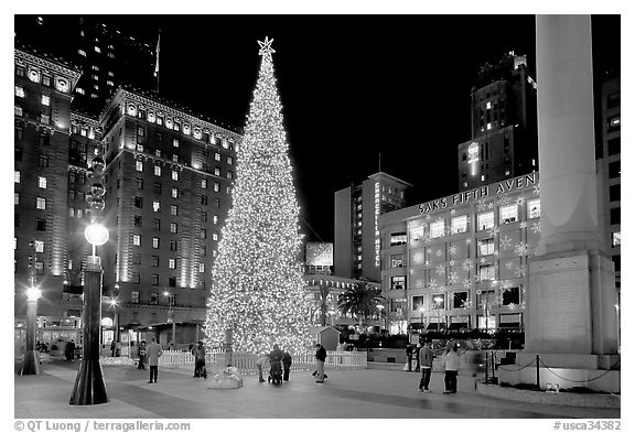 Black And White Picture Photo Christmas Tree On Union Square At Night San Francisco California USA