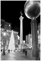 Union Square at night. San Francisco, California, USA ( black and white)