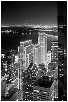 Embarcadero Centre seen from above at night. San Francisco, California, USA (black and white)
