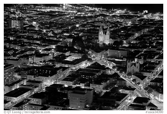Above view of North Beach at night. San Francisco, California, USA (black and white)
