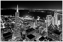 Transamerica Pyramid and Embarcadero Center from above at night. San Francisco, California, USA (black and white)