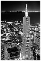 Transamerica Pyramid at night from the Carnelian Room. San Francisco, California, USA (black and white)