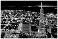 City lights with Transamerica Pyramid. San Francisco, California, USA (black and white)