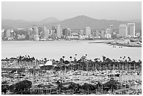 Skyline and San Diego Yacht Club,` from Point Loma, sunset. San Diego, California, USA (black and white)