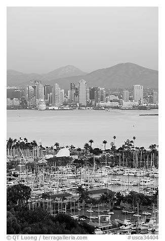 Skyline, Lyon Peak, and San Miguel Mountain, sunset. San Diego, California, USA (black and white)