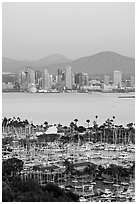 Skyline, Lyon Peak, and San Miguel Mountain, sunset. San Diego, California, USA ( black and white)