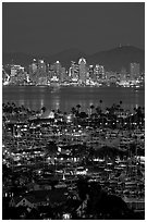San Diego Yacht Club and skyline at night. San Diego, California, USA ( black and white)
