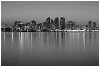 Skyline from Harbor Island, dawn. San Diego, California, USA (black and white)