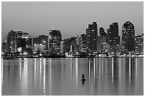 Skyline and buoy, dawn. San Diego, California, USA ( black and white)