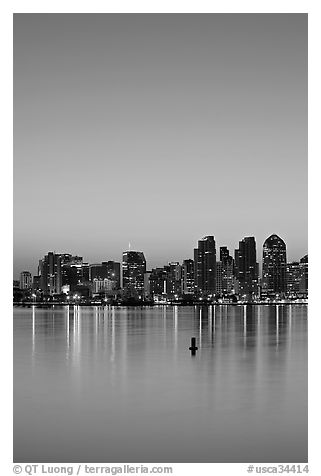 Skyline and reflections at dawn. San Diego, California, USA (black and white)