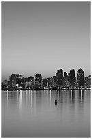 Skyline and reflections at dawn. San Diego, California, USA ( black and white)