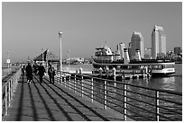 Pier, ferry, and skyline, Coronado. San Diego, California, USA (black and white)