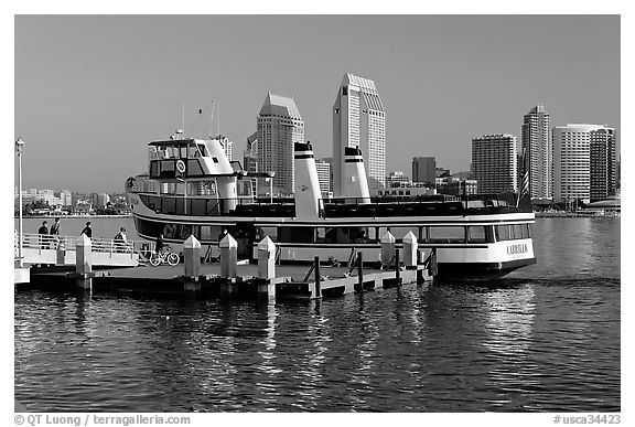 Ferry and skyline, Coronado. San Diego, California, USA