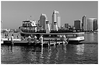 Ferry and skyline, Coronado. San Diego, California, USA (black and white)
