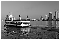 Ferry departing Coronado. San Diego, California, USA ( black and white)