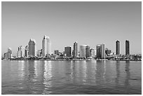 San Diego skyline from Coronado, early morning. San Diego, California, USA ( black and white)