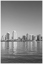 Skyline from across the harbor,  Coronado. San Diego, California, USA ( black and white)