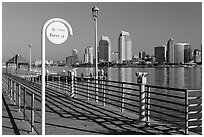 Sign, Ferry pier and skyline, Coronado. San Diego, California, USA ( black and white)
