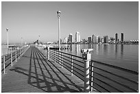 Binoculars, pier, and skyline, Coronado. San Diego, California, USA ( black and white)