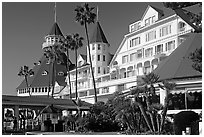Facade of Hotel Del Coronado in victorian style. San Diego, California, USA (black and white)