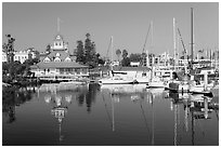 Harbor and boathouse restaurant, Coronado. San Diego, California, USA (black and white)