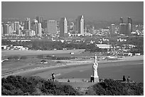 Cabrillo monument, navy base, and skyline. San Diego, California, USA ( black and white)