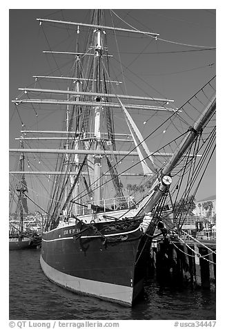 Star of India square-rigged ship, Maritime Museum. San Diego, California, USA (black and white)