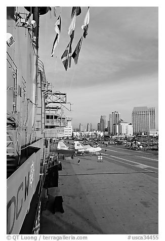 Flight deck seen from the island, San Diego Aircraft  carrier museum. San Diego, California, USA (black and white)